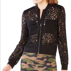 NWT BCBG MAX AZRIA Nicolle Zip-Front Lace Top